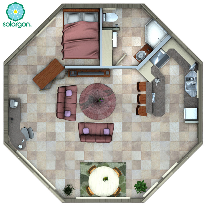 Solargon the passive solar smart cabin official website for Octagon home designs